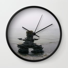 Stone Inukshuk on The Shore Looking Out Over Calm Water ~ A Meaningful Messenger Wall Clock