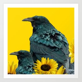 TWO CROW/RAVEN BIRD PORTRAITS & SUNFLOWERS GOLD  ART Art Print