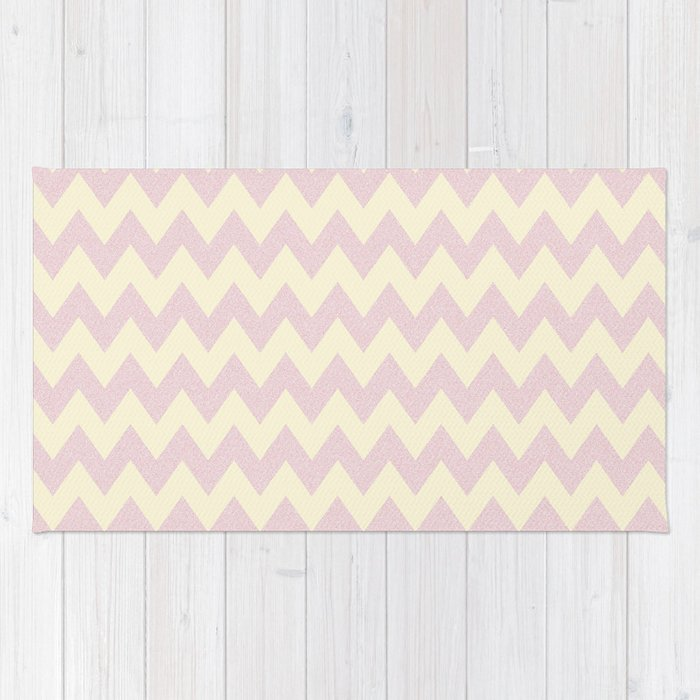 Pale Pink Glitter Chevron Pattern Rug By