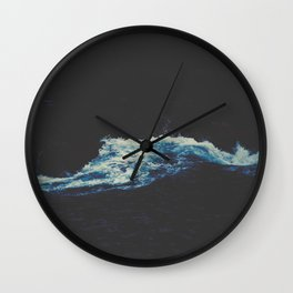 Dark Blue Water Waves MInimalist Photo Ocean Wall Clock
