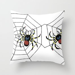 two big Spider Halloween web Throw Pillow