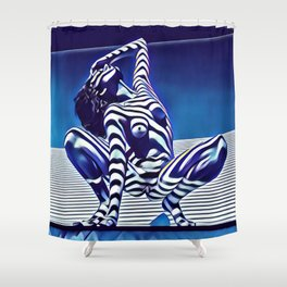 9124s-KMA Powerful Nude Woman Open and Free Striped in Blue Shower Curtain