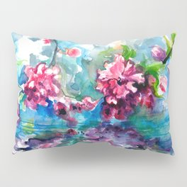 CHERRY TREE MIRRORING IN THE WATER - WATERCOLOR Pillow Sham