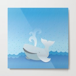 Humpback whale above the ocean waves Metal Print