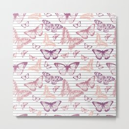Minimal Black and White Stripes and Rose Gold Butterflies Metal Print