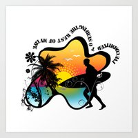 surfing Art Prints featuring Surfing by mark ashkenazi
