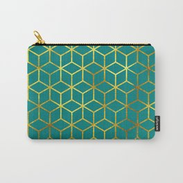 Teal and Gold Squares Carry-All Pouch