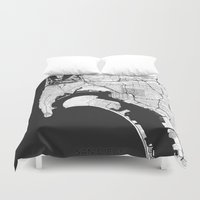 san diego Duvet Covers featuring San Diego Map Gray by City Art Posters