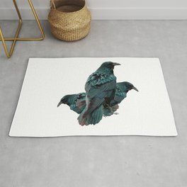 THREE CROWS/RAVENS  SOCIALIZING FROM SOCIETY6 Rug