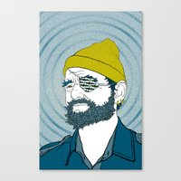 steve zissou Canvas Prints featuring Steve Zissou by Chelsea Kepner