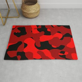 Black and Red Camo abstract Rug
