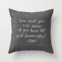 nietzsche Throw Pillows featuring Nietzsche on Rising Anew by Josh LaFayette