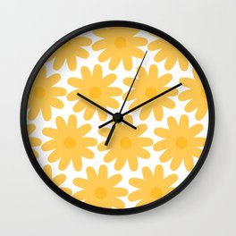 Crayon Flowers Cheerful Floral Pattern in Mustard Yellow and White Wall Clock