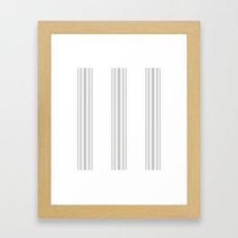Farmhouse Ticking Stripes in Gray on White Framed Art Print