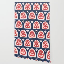 Mid Century Modern Sunflower Blue and Red Wallpaper