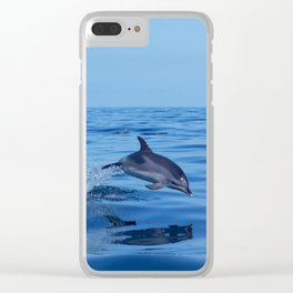 Spotted dolphin jumping in the Atlantic ocean Clear iPhone Case