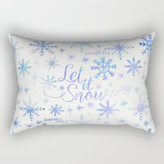 Let It Snow Winter Pattern Rectangular Pillow