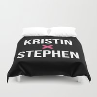 stephen king Duvet Covers featuring KRISTIN + STEPHEN by EXO Design