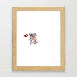 I Kissed A Catahoula Leopard Dog And I Liked It Cute Dog Kiss Gift Idea Framed Art Print