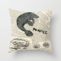 manatee Throw Pillows featuring Manatee by Cassidy Tebeau
