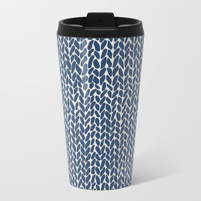 Hand Knit Navy Metal Travel Mug