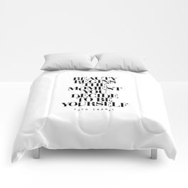 Beauty Begins the Moment You Decide to Be Yourself black and white quotes love life typography quote Comforters