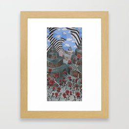 Flowers, Towers, Stripes & Cubes Framed Art Print