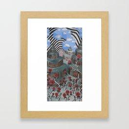 Flowers, Towers, Stripes & Cubes Framed Art Print