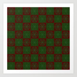 Navidad Bicolor a Cuadros 1 Art Print