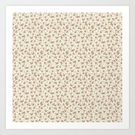 Shabby Chic Roses on Green Art Print