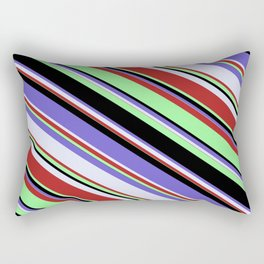 Red, Green, Black, Slate Blue & Lavender Colored Lined Pattern Rectangular Pillow