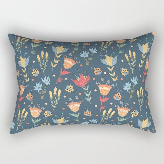 Floral blue pattern Rectangular Pillow