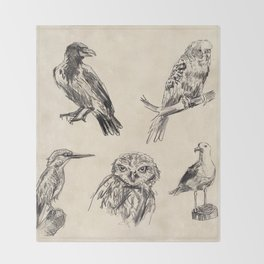 Bird vintage sketches 2 Throw Blanket