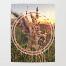 Peel Sunset lll - orange circle graphic Poster