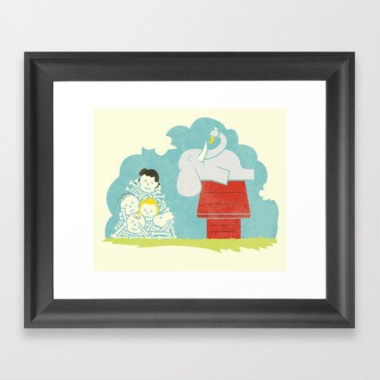 Elephants Love Peanuts Framed Art Print