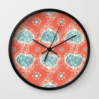 nordic Wall Clocks featuring Nordic Heart by Sarah Doherty
