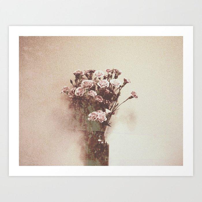 Abstract Vintage Flowers Art Print