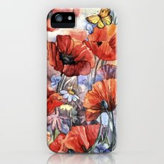watercolor poppies iPhone (5, 5s) Slim Case