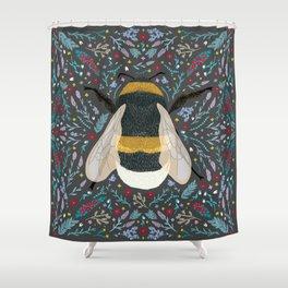 Folk Bumble Bee Shower Curtain