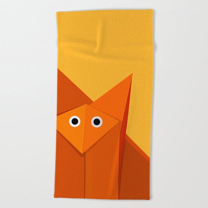 Geometric Cute Origami Fox Portrait Beach Towel