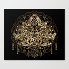 Lotus Black & Gold Canvas Print