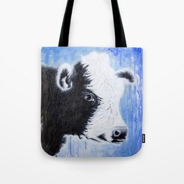 Black and White Cow Acrylic Painting Tote Bag
