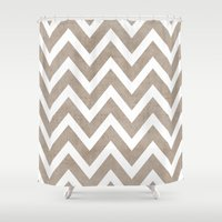 coco Shower Curtains featuring coco chevron by her art