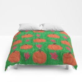 Green Pumpkin Patch Comforters