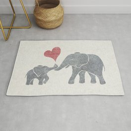 Elephant Hugs with Heart in Muted Gray and Red Rug