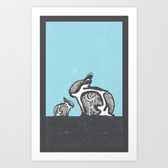 2 Rabbits Art Print