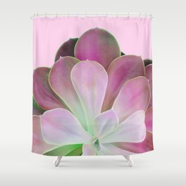 Acid Green and Pink Echeveria Shower Curtain