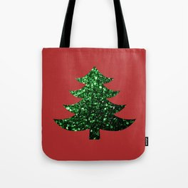 Sparkly Christmas tree green sparkles on red Tote Bag