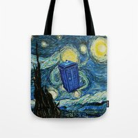 marauders Tote Bags featuring Tardis Dr. Who Starry Night by neutrone