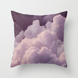 Abstract hand painted blush pink lilac watercolor clouds pattern Throw Pillow